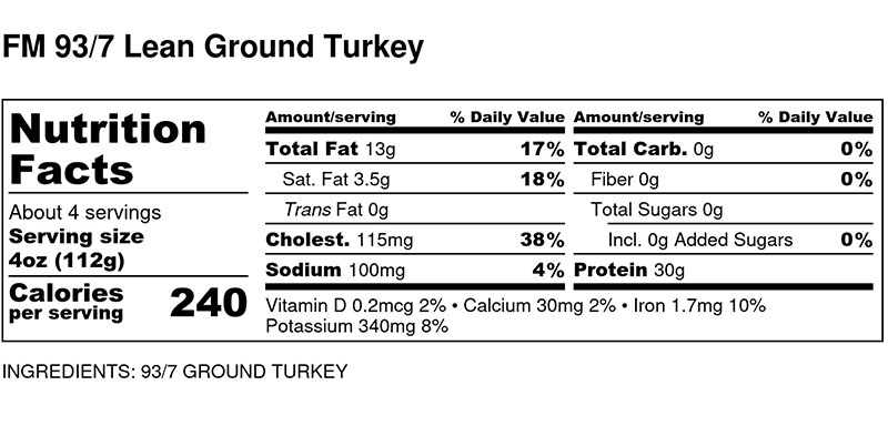 Nutritional Facts - 93/7 Lean Ground Turkey by the pound