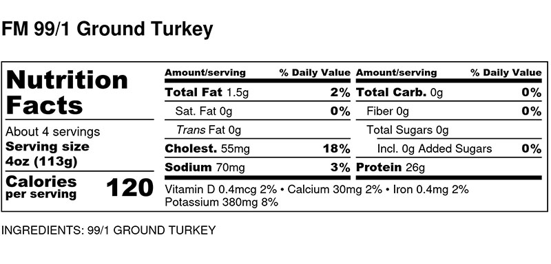 Nutritional Facts - 99/1 Ground Turkey by the pound
