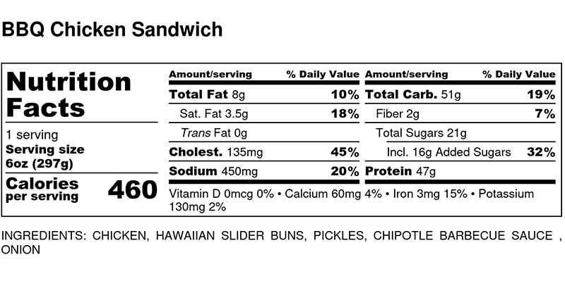 Nutritional Facts - BBQ Chicken Sandwich 6oz