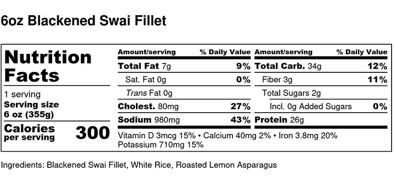 Nutritional Facts - Blackened Swai Fillet 6oz
