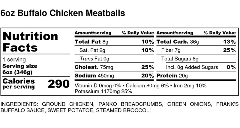 Nutritional Facts - Buffalo Chicken Meatballs 6oz