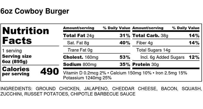 Nutritional Facts - Cowboy Chicken Burger 6oz