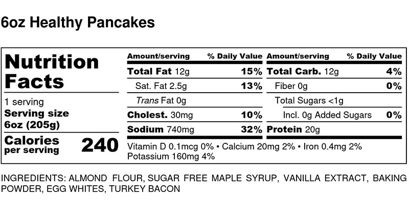 Nutritional Facts - Healthy Pancakes 6oz