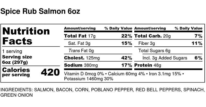 Nutritional Facts - Spice Rub Salmon 6oz