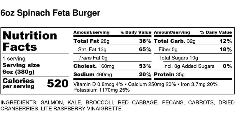 Nutritional Facts - Spinach Feta Turkey Burger 6oz