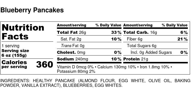 Nutritional Facts - Blueberry Pancakes 6oz
