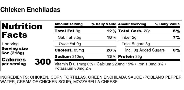 Nutritional Facts - Chicken Enchiladas 6oz