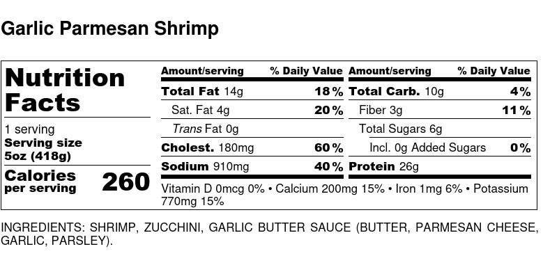 Nutritional Facts - Garlic Parmesan Shrimp 6oz