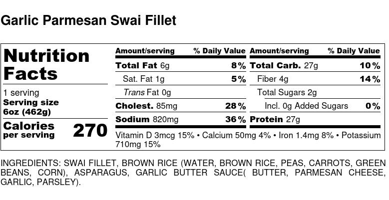 Nutritional Facts - Garlic Parmesan Swai Fillet 6oz