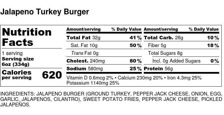Nutritional Facts - Jalapeno Turkey Burger 6oz