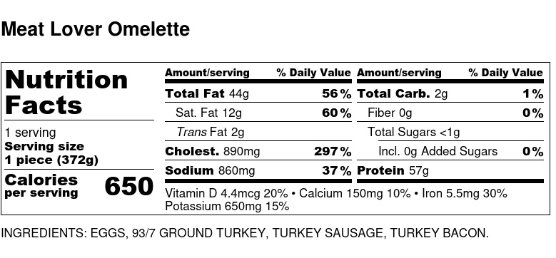 Nutritional Facts - Meat Lover Omelette 6oz