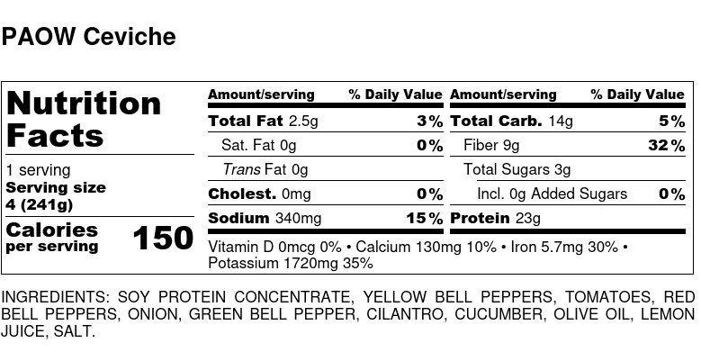 Nutritional Facts - PAOW Ceviche 6oz