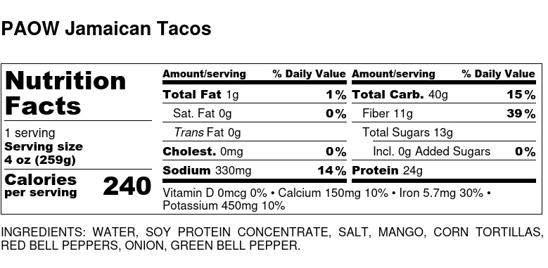 Nutritional Facts - Paow Jamaican Tacos 6oz