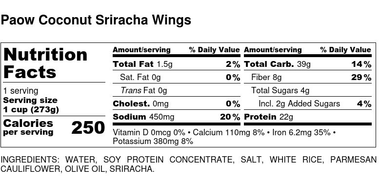 Nutritional Facts - Paow Coconut Sriracha Wings 6oz