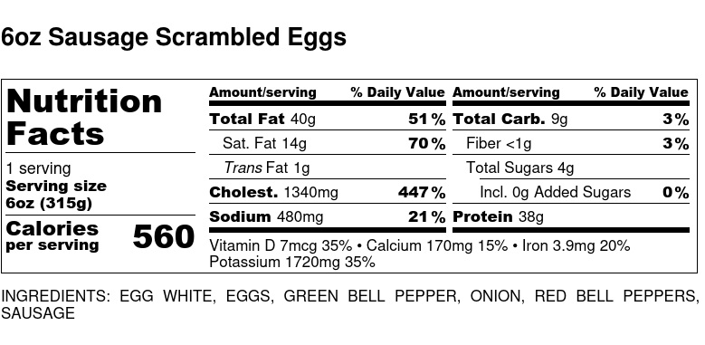 Nutritional Facts - Sausage Scrambled Eggs 6oz