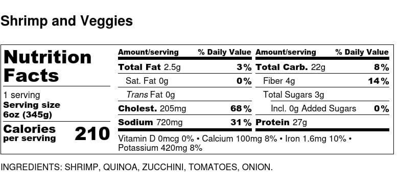 Nutritional Facts - Shrimp and Veggies 6oz