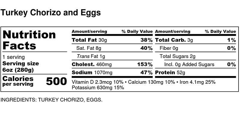 Nutritional Facts - Turkey Chorizo and Eggs 6oz